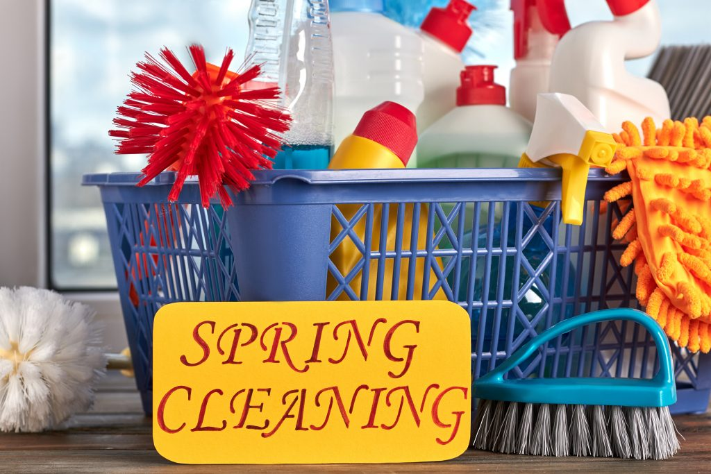 Spring Cleaning Concept With Supplies. House Cleaning Items In B